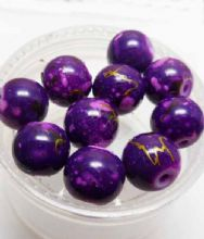 Mottled Glass  beads. 8mm. Purple x 10
